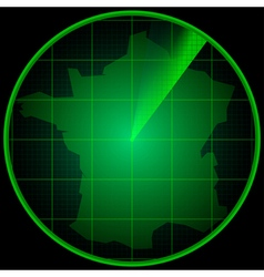 Radar screen with the silhouette of France vector image vector image