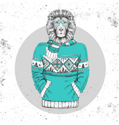 Retro hipster animal lion dressed in pullover vector