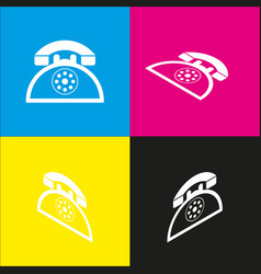 Retro telephone sign white icon with vector