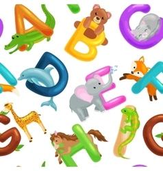 Seamless animals alphabet pattern for kids abc vector