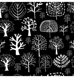 Seamless pattern with trees sketch for your vector image vector image
