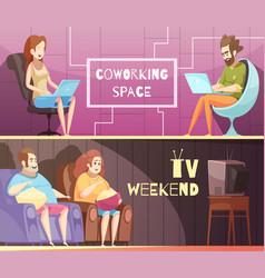 Sedentary lifestyle retro cartoon banners vector