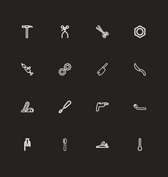 Set of 16 editable instrument outline icons vector