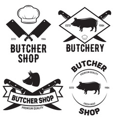 Set of butchery logo templates butchery labels vector