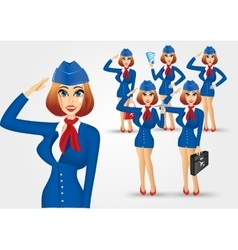 Set of young beautiful stewardesses vector