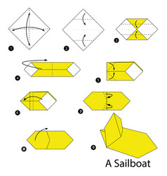 Step instructions how to make origami a sailboat vector