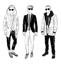 stylish man showcasing street fashion vector image