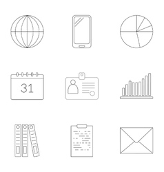 Time management icons set outline style vector