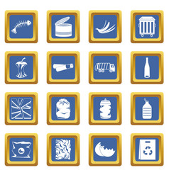 Waste and garbage icons set blue vector