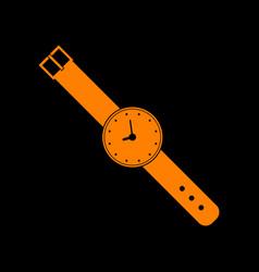 watch sign orange icon on black vector image
