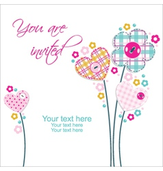 beautiful invitation with flowers and hearts vector image