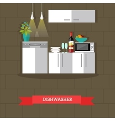 Dishwasher kitchen vector