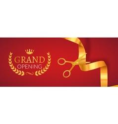 Grand opening invitation banner golden ribbon cut vector