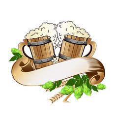 Wooden beer mugs still life vector