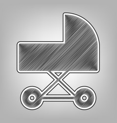 Pram sign pencil sketch vector