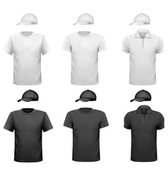 Black and white men shirt and cup design template vector
