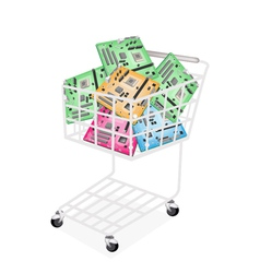 Colorful computer motherboard in a shopping cart vector
