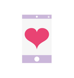 Smartphone technology with heart love design vector