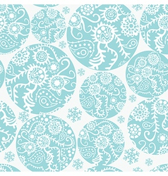 Christmas balls seamless pattern in blue vector image