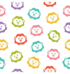 Seamless background with colorful lions vector