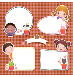 Set of four frames with cute cartoon kids vector