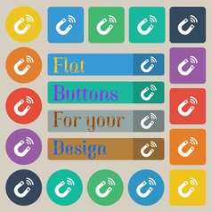Magnet icon sign set of twenty colored flat round vector