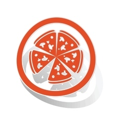 Pizza sign sticker orange vector