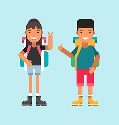Two tourists with backpacks standing and smiling vector