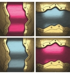 Metal background set with golden element vector