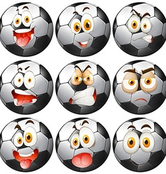 Soccer ball with facial expressions vector