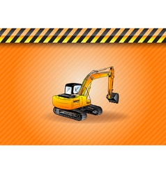 Big digger on the background vector