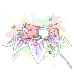 baby on the flower vector image