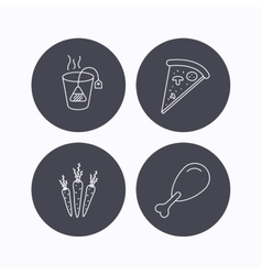Chicken leg pizza and soft tea bag icons vector