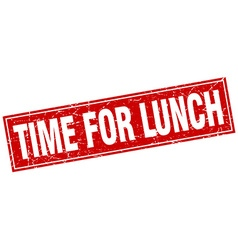 Time for lunch red square grunge stamp on white vector