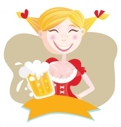 Bavarian woman with beer vector
