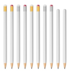 White wooden sharp pencils vector