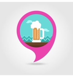 Beer mug pin map icon summer vacation vector