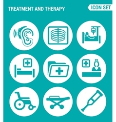set of round icons white Treatment and therapy vector image
