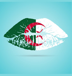 algeria flag lipstick on the lips isolated on a vector image vector image