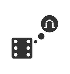 Black icon on white background dice and horseshoe vector