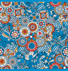 blue floral decorative background vector image