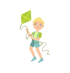 Boy Preparing To Fly A Kite vector image