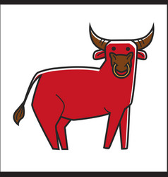 bull in red color isolated on white graphic poster vector image vector image