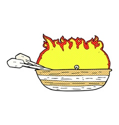 Comic cartoon burning boat vector