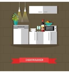 Dishwasher kitchen vector
