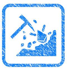 Ethereum mining hammer framed stamp vector