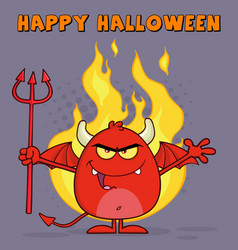 Evil red devil character over flames vector