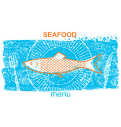 fish labelvintage style of menu on blue old paper vector image vector image