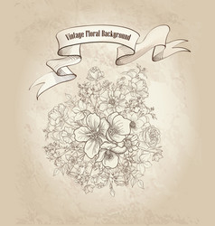 Floral background flower bouquet cover retro vector