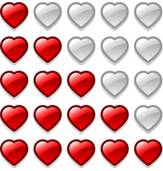 Game web rating hearts set vector image vector image